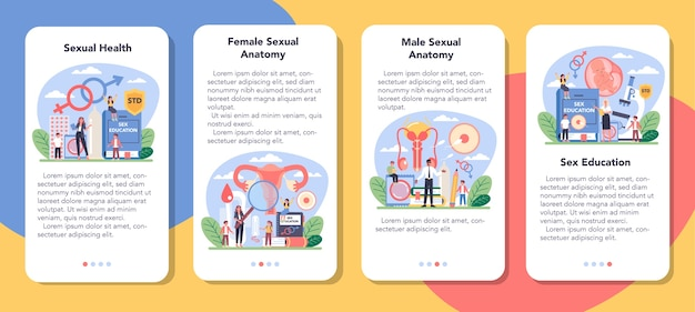 Conjunto de banners de aplicativos móveis de educação sexual