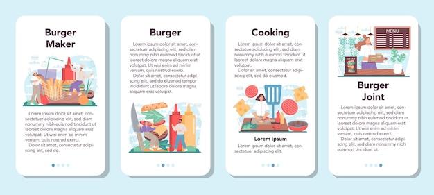 Conjunto de banners de aplicativos móveis de hambúrgueres fast food chef