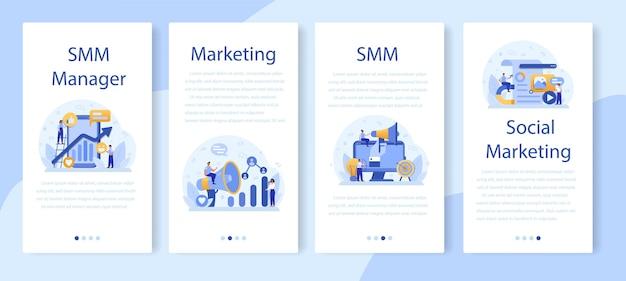 Conjunto de banners de aplicativos móveis de marketing de mídia social smm