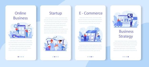 Conjunto de banners de aplicativos móveis de negócios online