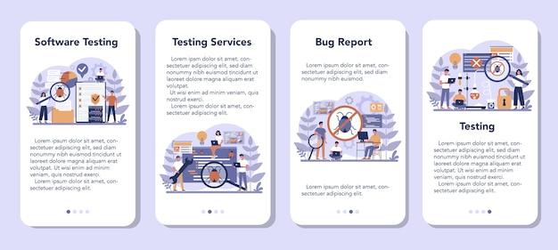 Conjunto de banners de aplicativos móveis de software de teste
