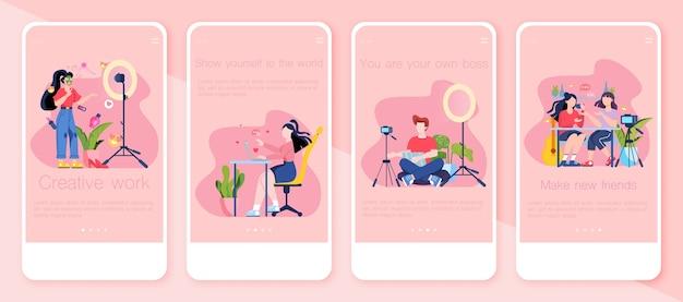Conjunto de banners de aplicativos móveis de videoblog. ideia de criatividade e criação de conteúdo, profissão moderna. redes e redes sociais. comunicação online. ilustração