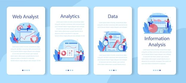 Conjunto de banners de aplicativos móveis para analistas de sites