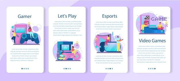 Conjunto de banners de aplicativos móveis para jogadores profissionais