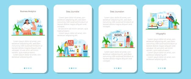 Conjunto de banners de aplicativos móveis para jornalismo de dados ou jornalismo baseado em dados