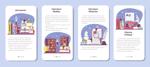 Conjunto de banners de aplicativos para celular de literaturista profissional