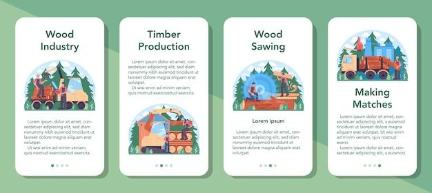 Conjunto de banners de aplicativos para dispositivos móveis da indústria da madeira e produção de madeira