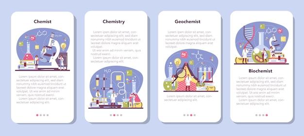 Conjunto de banners de aplicativos para dispositivos móveis de ciência química