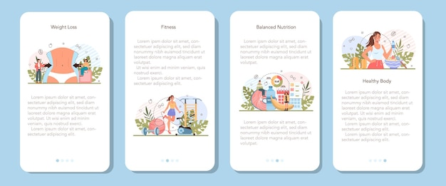 Conjunto de banners de aplicativos para dispositivos móveis de perda de peso