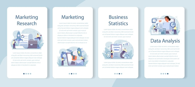 Conjunto de banners de aplicativos para dispositivos móveis de pesquisa de marketing