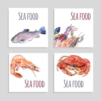 Conjunto de banners de aquarela de frutos do mar