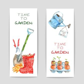 Conjunto de banners de aquarela de jardinagem