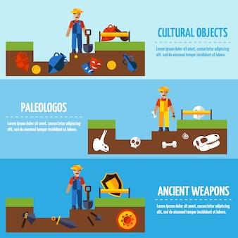 Conjunto de banners de arqueologia