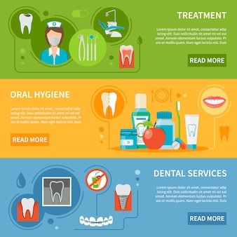 Conjunto de banners de atendimento odontológico