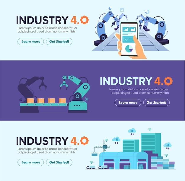 Conjunto de banners de automação de fábrica inteligente