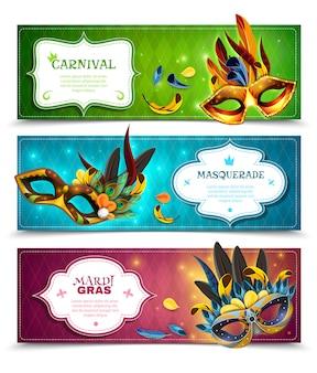 Conjunto de banners de baile de máscaras