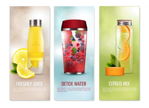 Conjunto de banners de bebidas de desintoxicação