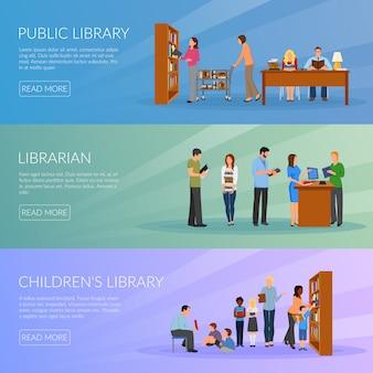Conjunto de banners de biblioteca