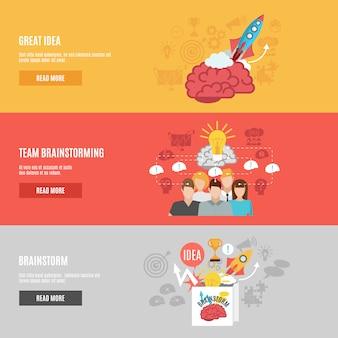 Conjunto de banners de brainstorm