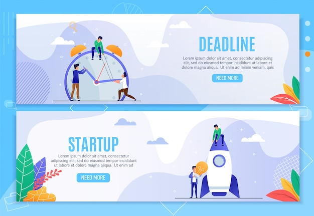 Conjunto de banners de cabeçalho de negócios de inicialização e prazo