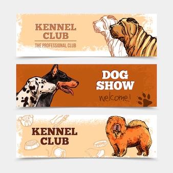Conjunto de banners de cães