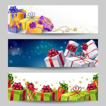 Conjunto de banners de caixas de presente