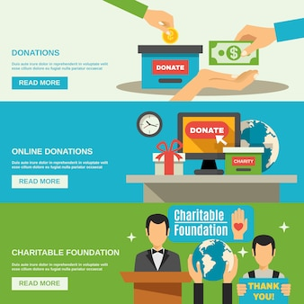 Conjunto de banners de caridade