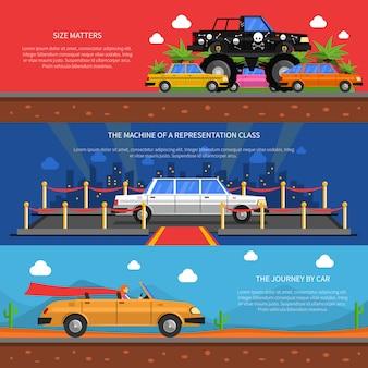 Conjunto de banners de carros