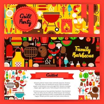 Conjunto de banners de churrasco. ilustração em vetor design plano da identidade da marca para promoção de grelhados.