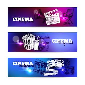 Conjunto de banners de cinema de filme. plano de fundo com ilustrações desenhadas à mão e efeitos de luz