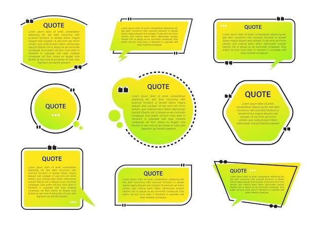 Conjunto de banners de citações modernas com fundo gradiente