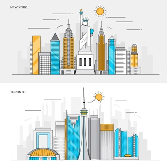 Conjunto de banners de cor de linha para a cidade de nova york e toronto. conceitos de web banner e materiais impressos. ilustração