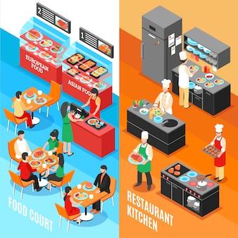 Conjunto de banners de cozinha fastfood