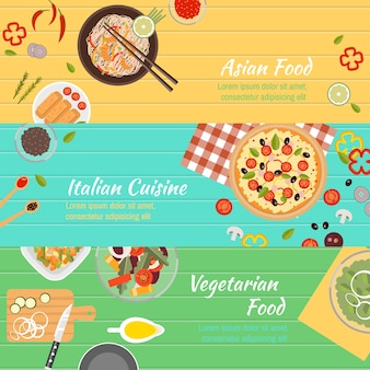 Conjunto de banners de culinária
