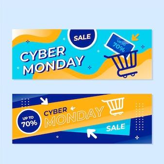 Conjunto de banners de cyber monday