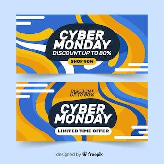 Conjunto de banners de cyber segunda-feira de design plano