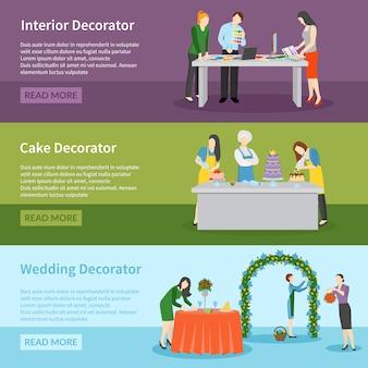 Conjunto de banners de decoração de casamento design de interiores