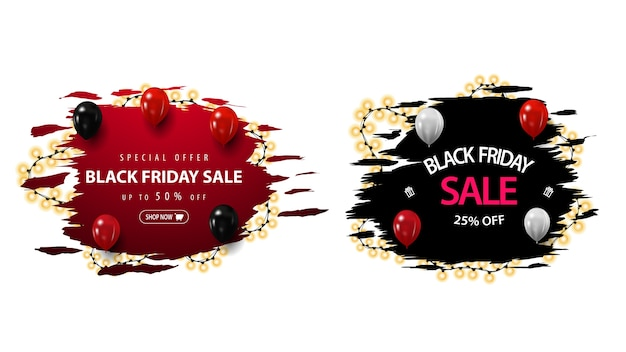 Conjunto de banners de desconto de black friday com formas irregulares, embrulhadas com festão. banners de desconto em vermelho e preto isolados