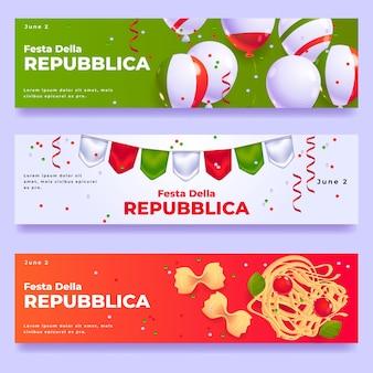 Conjunto de banners de desenho animado festa della repubblica