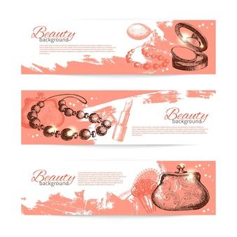 Conjunto de banners de desenho de beleza. ilustração em vetor vintage mão desenhada de acessórios cosméticos