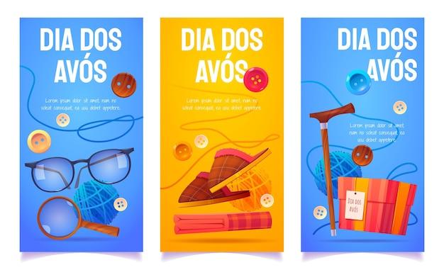 Conjunto de banners de desenhos animados dia dos avos