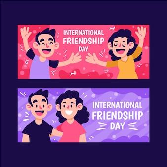 Conjunto de banners de desenhos animados do dia da amizade internacional