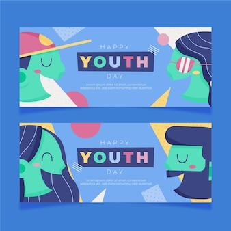 Conjunto de banners de desenhos animados do dia internacional da juventude