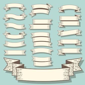 Conjunto de banners de design plano de estilo retro gravura vintage um fitas.