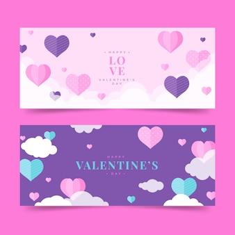 Conjunto de banners de design plano para o dia dos namorados