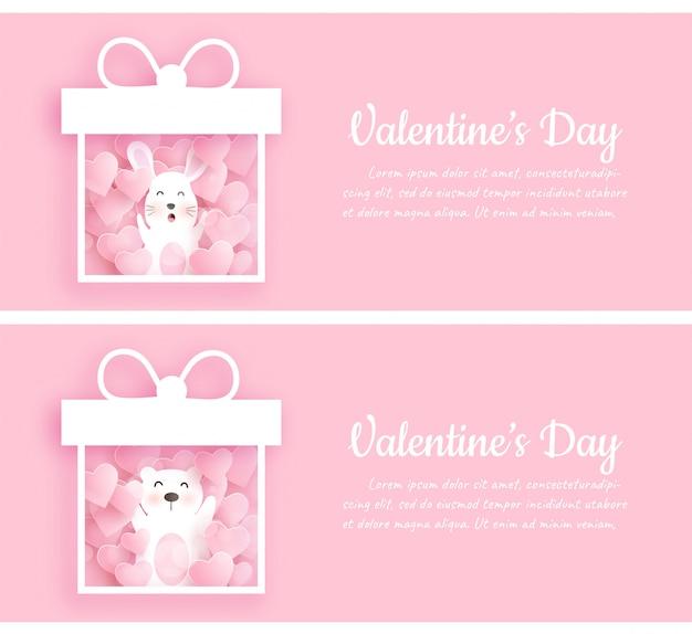 Conjunto de banners de dia dos namorados com coelho fofo e urso em pé em uma caixa de presente em estilo de corte de papel