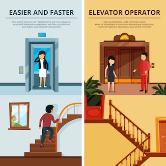 Conjunto de banners de diferentes elevadores e escadas modernas. hall do motel com elevador de madeira. porta do elevador do elevador, escada e escada