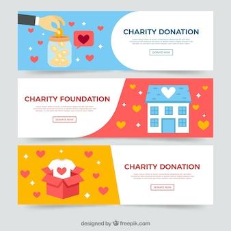 Conjunto de banners de doações bonitas