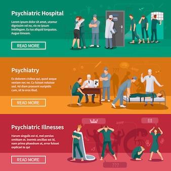 Conjunto de banners de doenças psiquiátricas