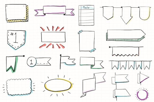 Conjunto de banners de doodle de diário com bala desenhada